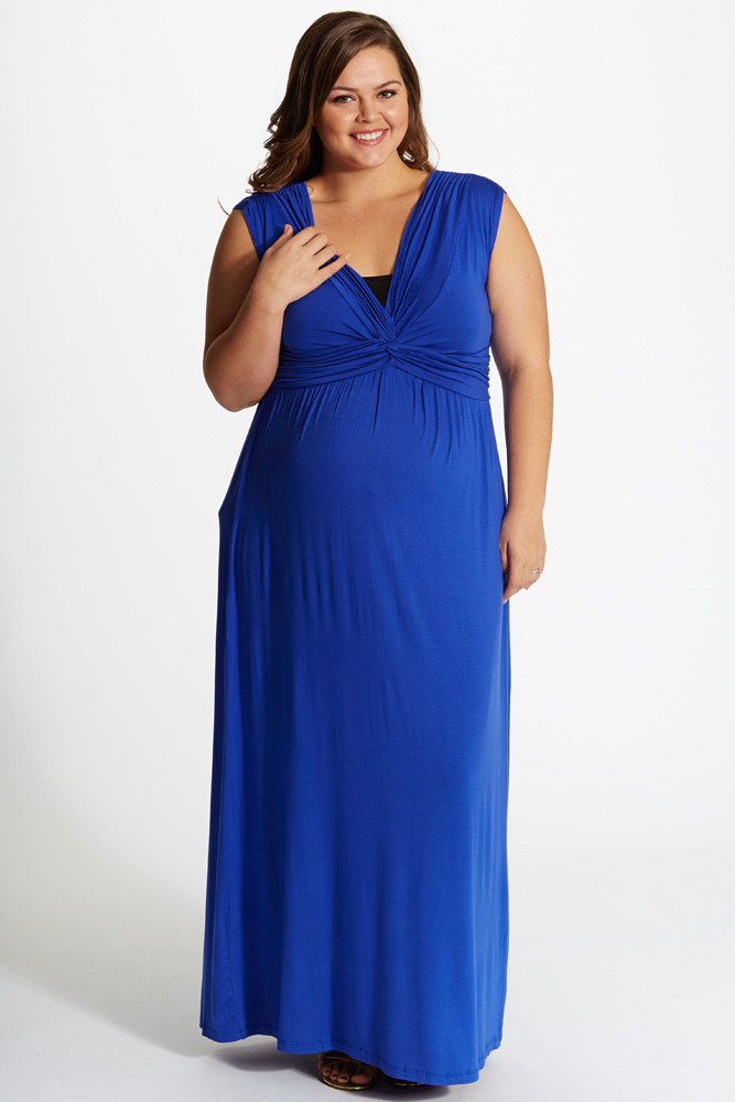 Royal Blue Draped Plus Size Maternity/Nursing Maxi Dress