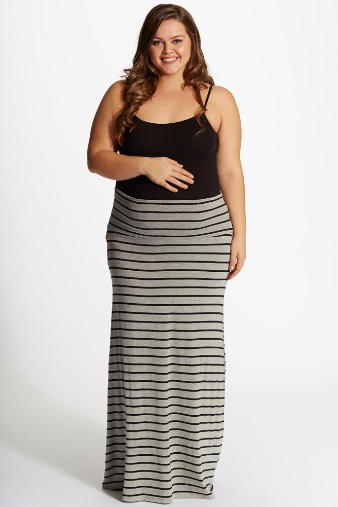 35d1115df9 Grey Black Striped Plus Size Maternity Maxi Skirt