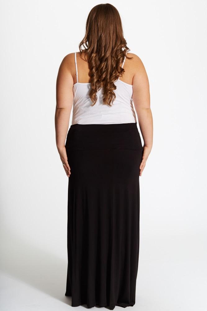 d41c8b10fce6a Black Basic Plus Size Maternity Maxi Skirt
