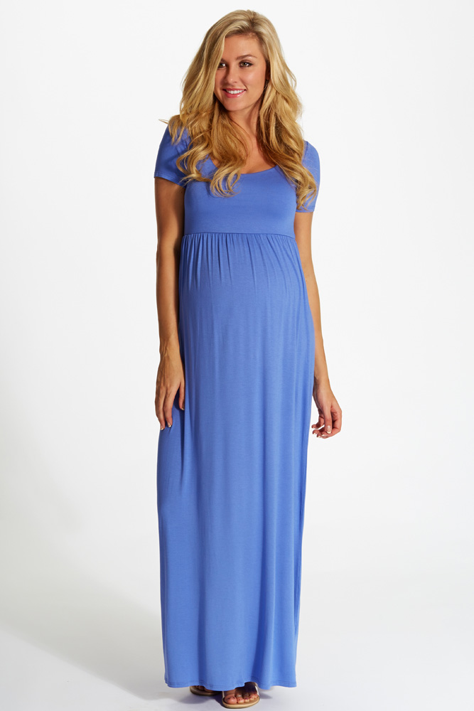 bb8937e40fa Periwinkle Solid Short Sleeve Maternity Maxi Dress