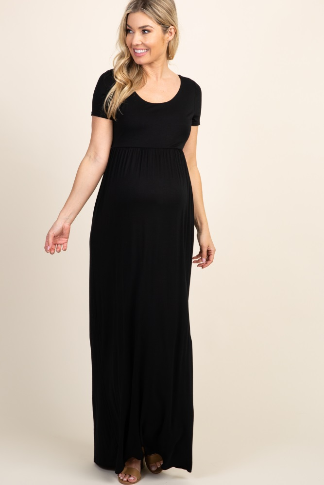 hot-seeling original shop for luxury best Black Solid Short Sleeve Maternity Maxi Dress