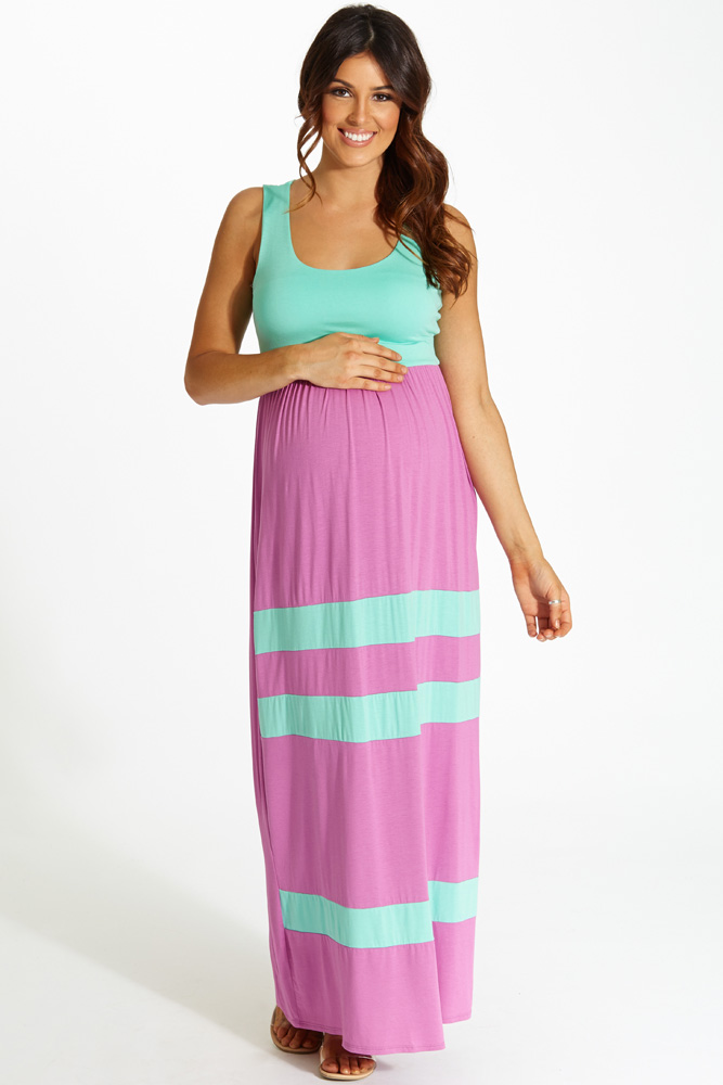 6418e49701a95 Magenta Mint Green Striped Bottom Colorblock Maternity Maxi Dress