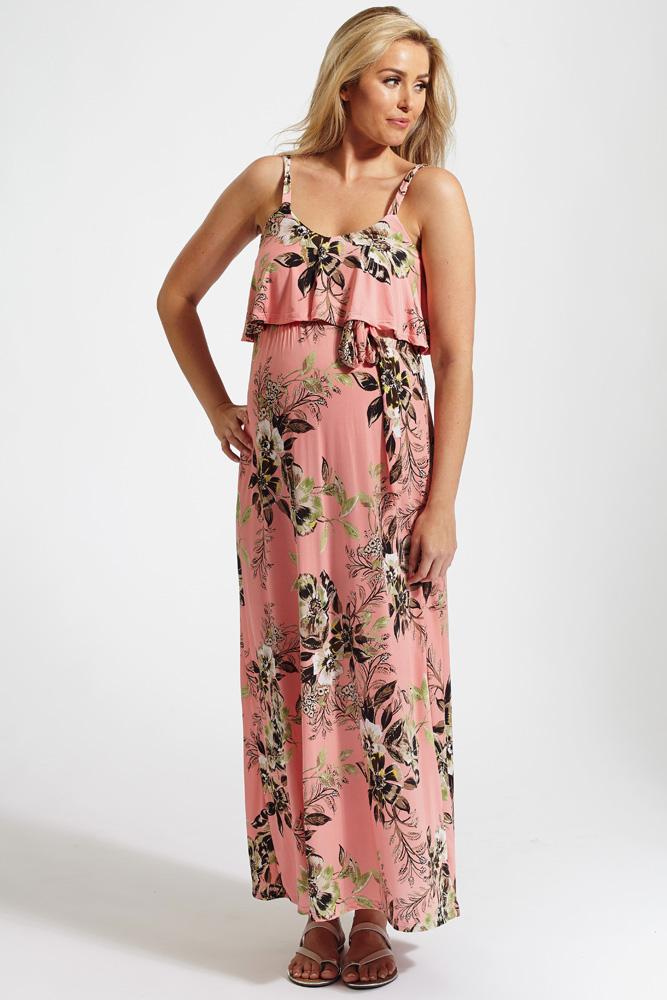 b60672845daa9 Pink Floral Print Overlay Sash Tie Maternity Maxi Dress