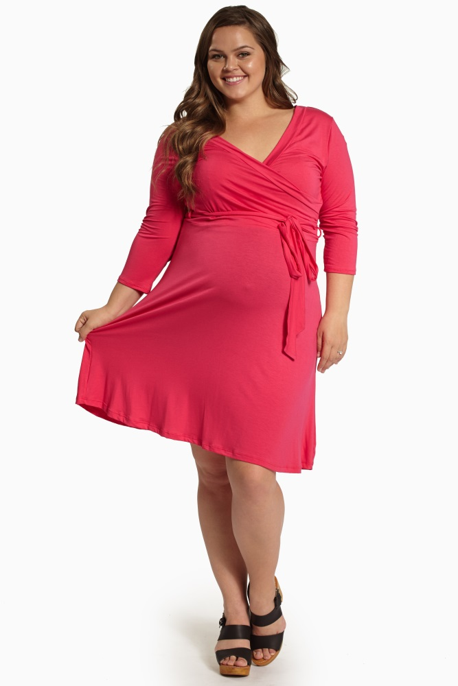 Fuchsia Draped 3/4 Sleeve Plus Size Maternity/Nursing Dress