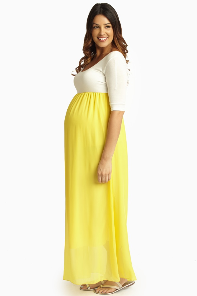 fce067d186ee8 Yellow Chiffon Colorblock Maternity Maxi Dress