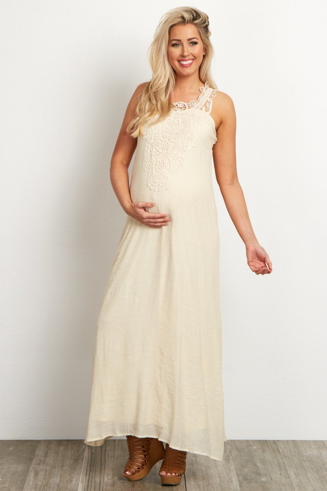 91455b1377a33 Ivory Crochet Front Linen Maternity Maxi Dress