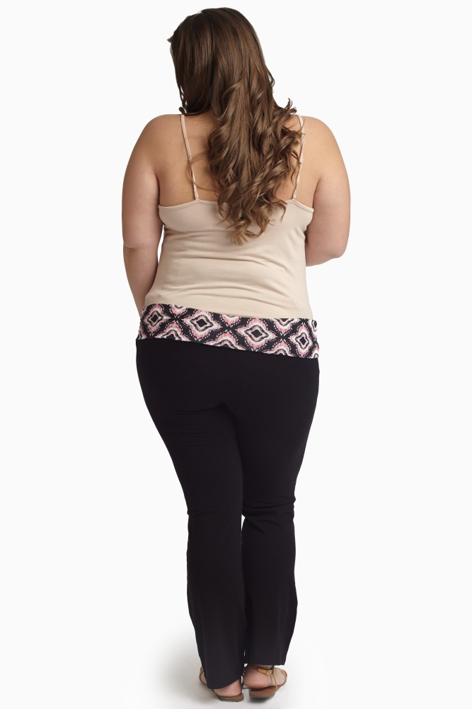 b682f167c3c882 Pink Black Ikat Printed Waistband Plus Size Maternity Yoga Pants