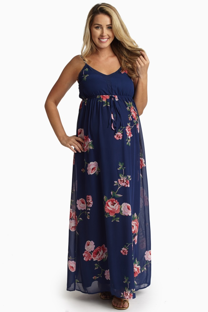 d26a212ef2 Navy Blue Rose Printed Chiffon Maternity Maxi Dress