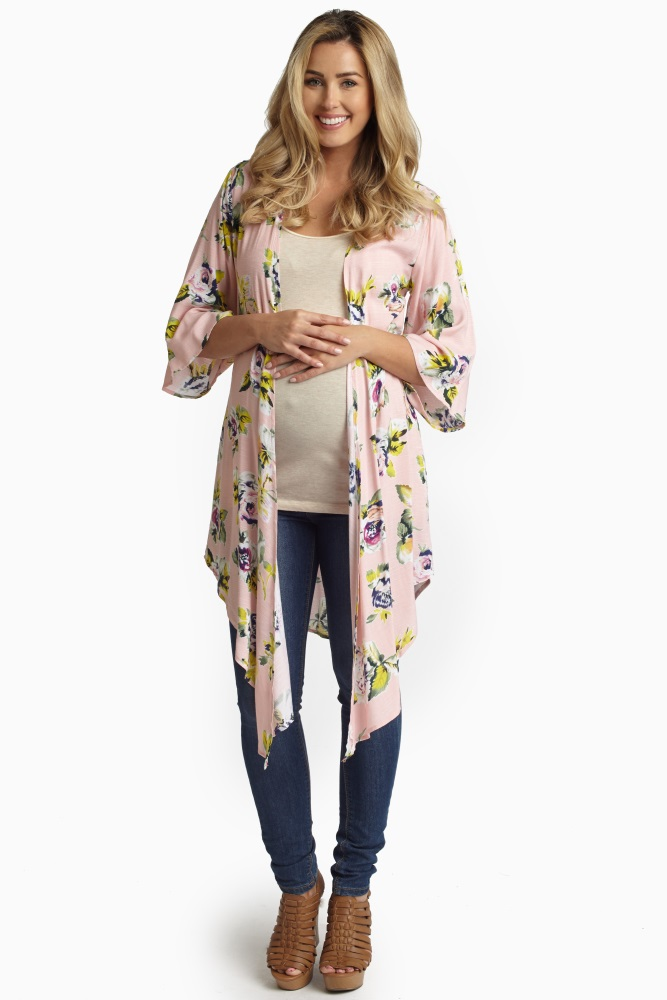 2d7ede92afb Pink Rose Printed Maternity Kimono