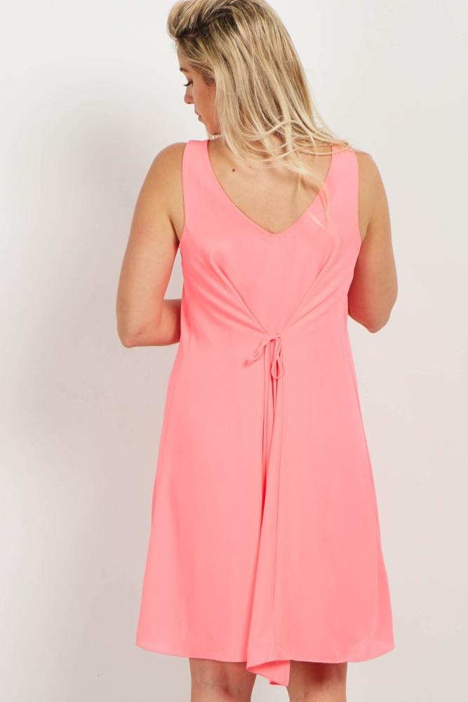 a0117af6b942c Basic Neon Pink Chiffon Maternity Dress