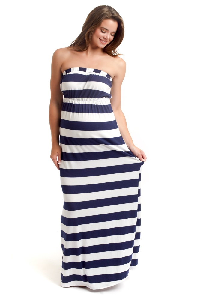 8c82d40b46da Navy Blue White Striped Strapless Maternity Maxi Dress
