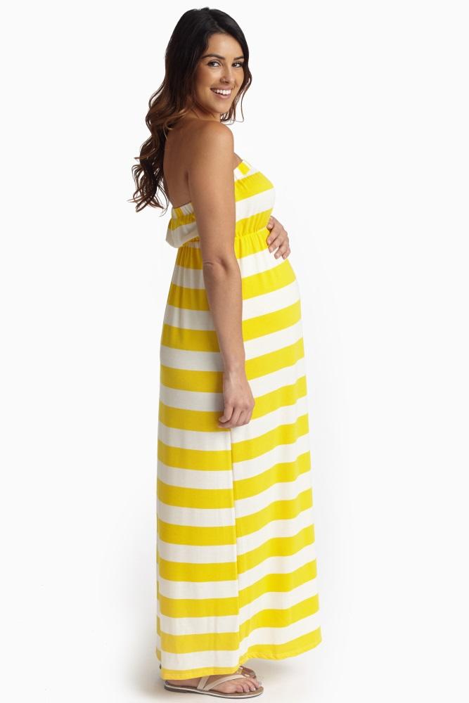 012d87094e Yellow White Striped Strapless Maternity Maxi Dress