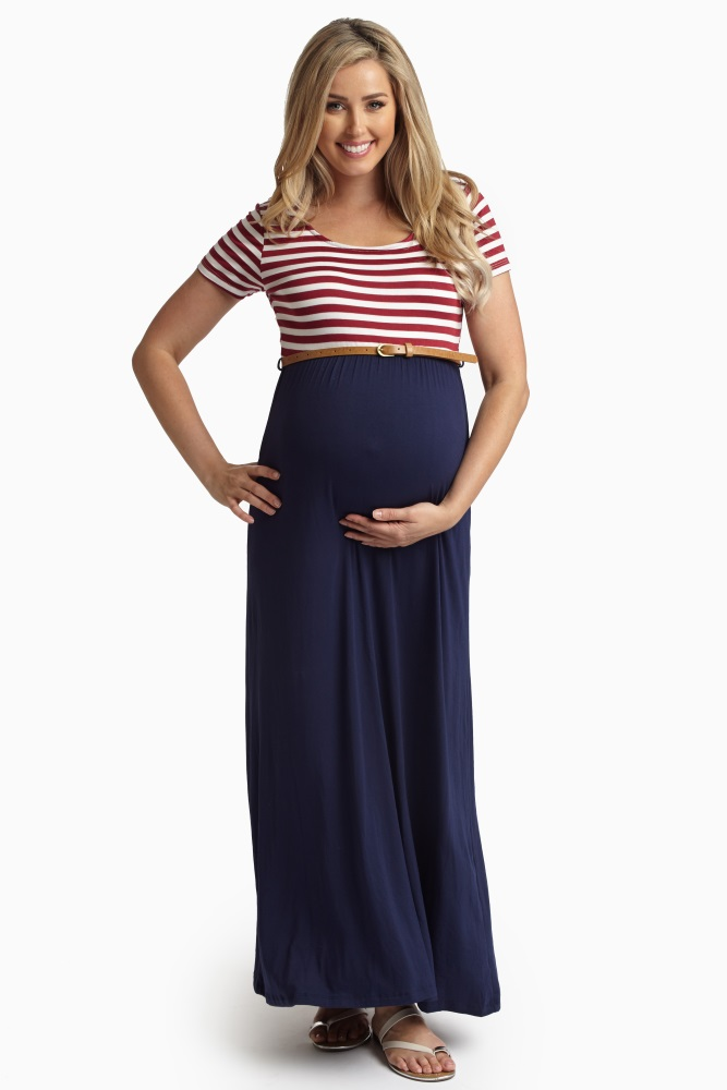 Red Striped Belted Maternity Maxi Dress