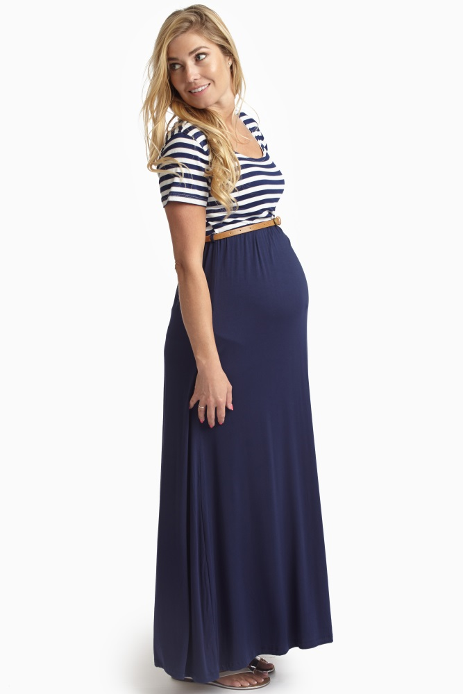 ec01392f30 Navy Blue Striped Top Belted Maternity Maxi Dress