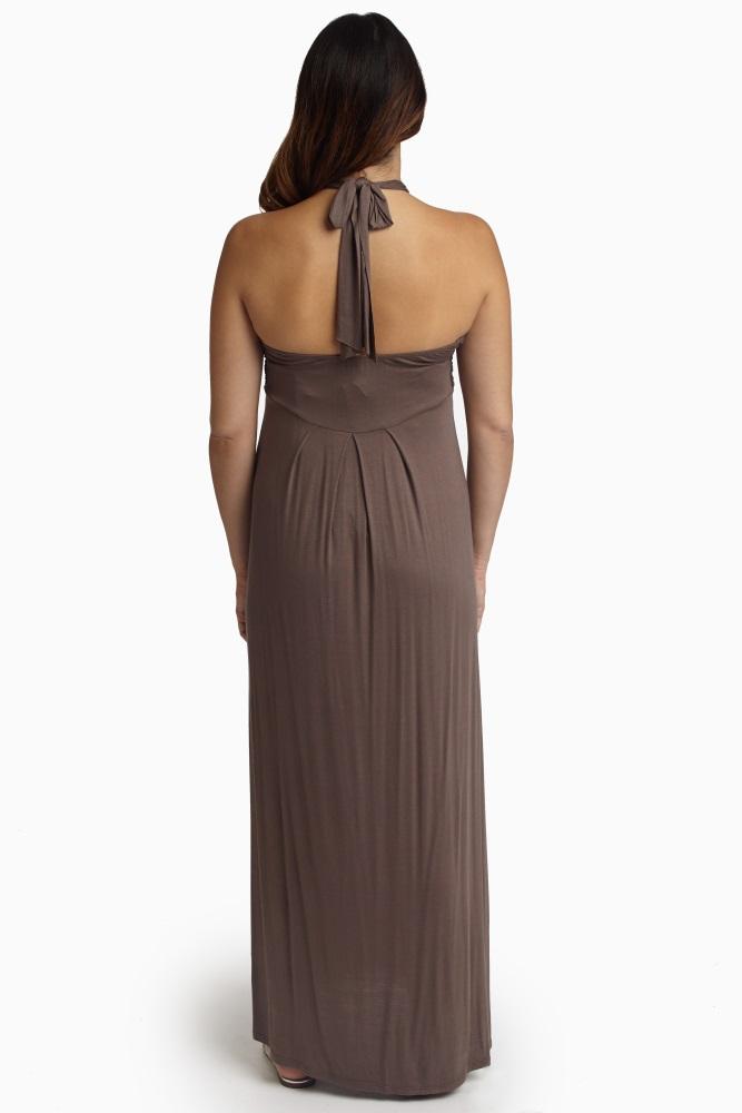 b843b8f766fdb Brown Halter Maternity Maxi Dress