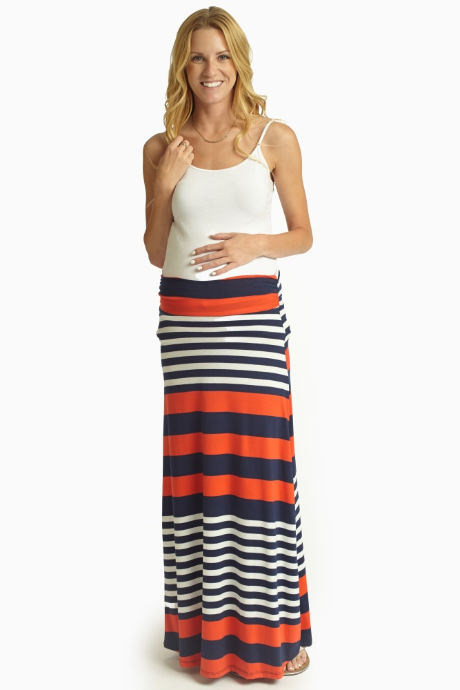 d52bc47a66b2 Red Navy White Alternating Striped Maternity Maxi Skirt