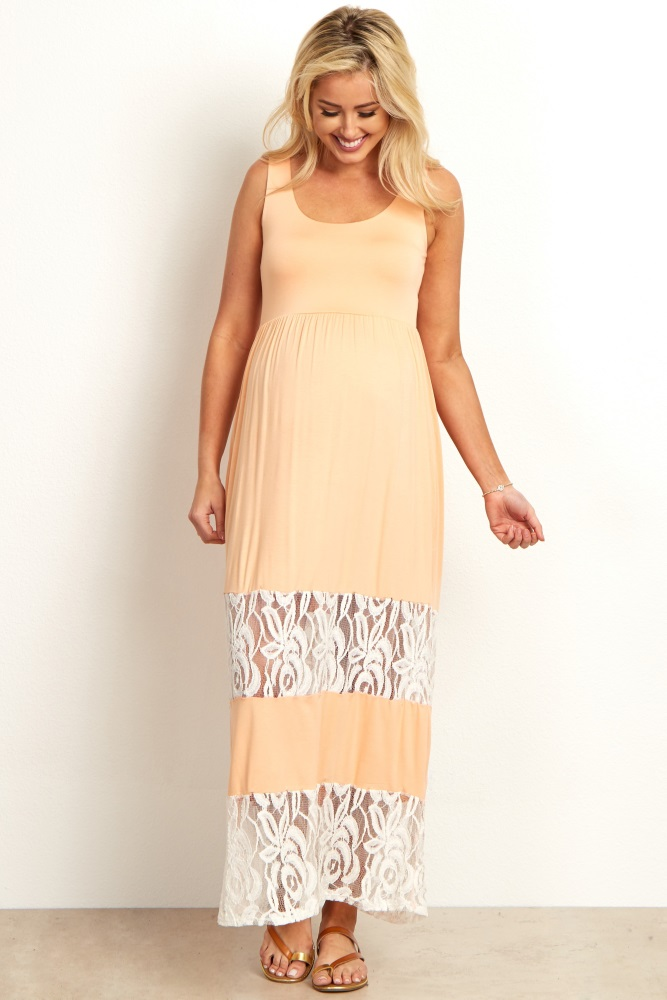 015aefb9858 Peach Lace Colorblock Maternity Maxi Dress