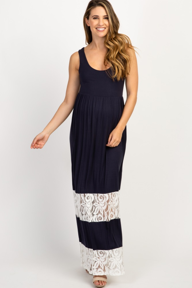 9d87dd7ec0bc6 Navy Lace Colorblock Maternity Maxi Dress