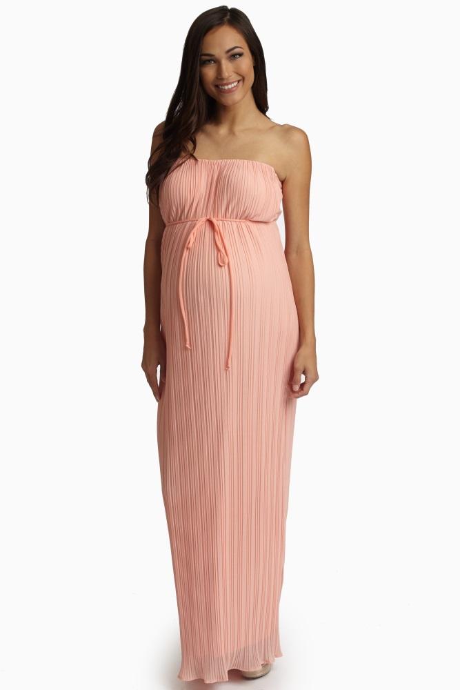 9a8b9f1edd256 Peach Pleated Chiffon Strapless Maternity Maxi Dress