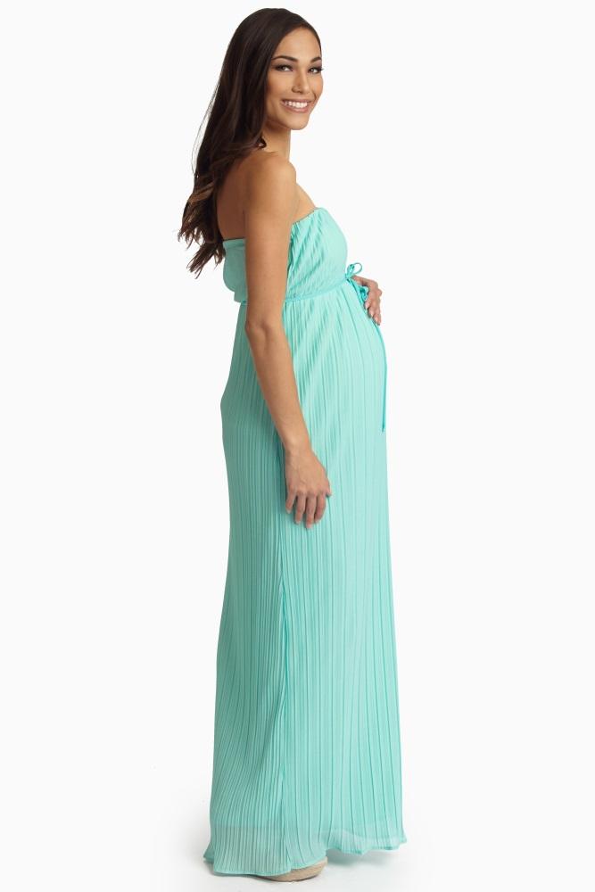 55181eeb76e97 Mint Green Pleated Chiffon Strapless Maternity Maxi Dress