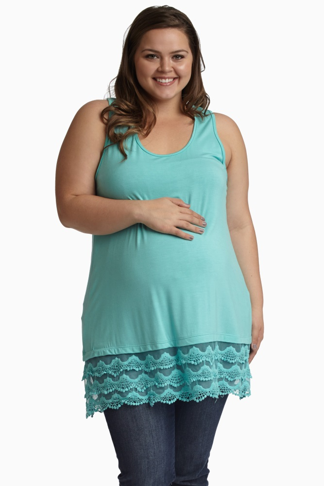 Mint Green Lace Trim Racerback Plus Size Maternity Tank Top