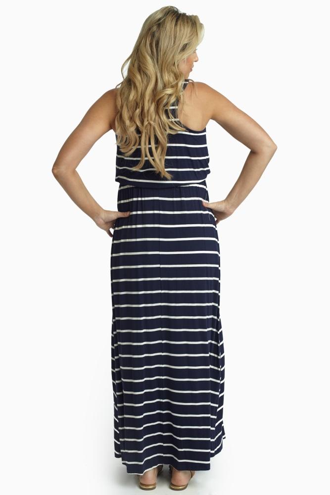 d8c7b1400ba Navy White Striped Racerback Maternity Maxi Dress