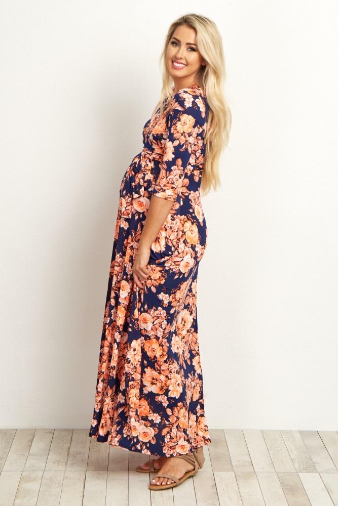 03c76ca267 Orange Floral Draped Maternity Nursing Maxi Dress
