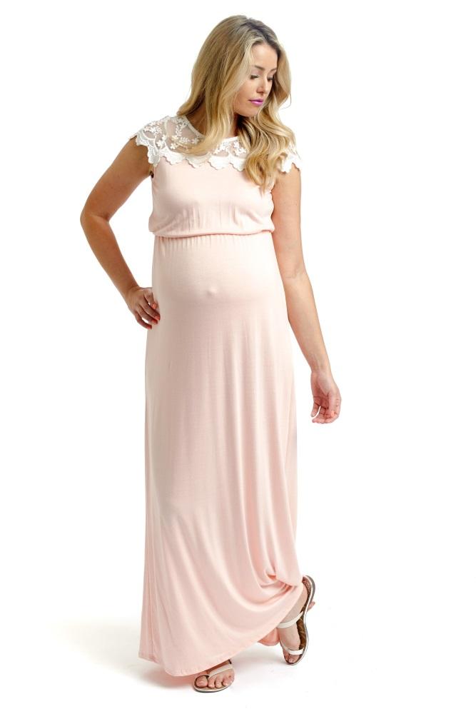 06fee6edefa40 Pink Lace Top Maternity Maxi Dress