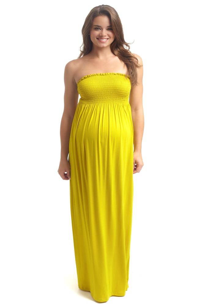 Yellow Solid Strapless Maternity Maxi Dress