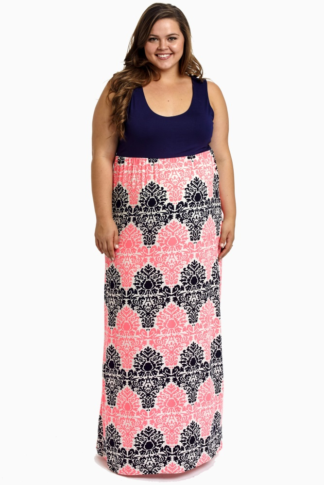 Navy Blue Pink Damask Bottom Plus Size Maternity Maxi Dress