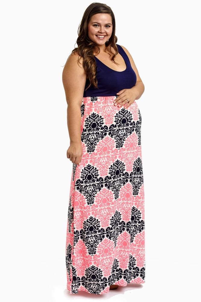 Navy Blue Pink Damask Bottom Plus Size Maternity Maxi Dress