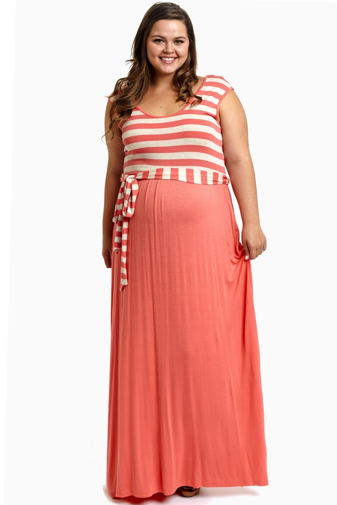 Coral Striped Top Sash Tie Plus Size Maternity Maxi Dress