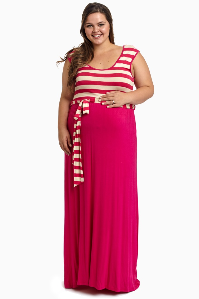 Fuchsia Striped Top Sash Tie Plus Size Maternity Maxi Dress