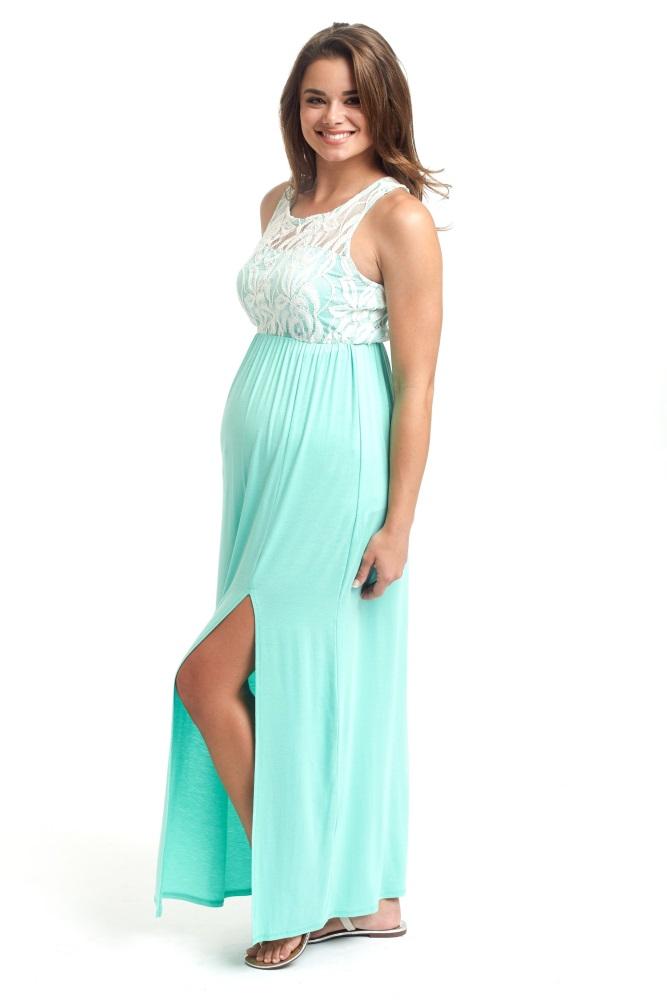 90da234210 Mint Green Lace Top Maternity Maxi Dress