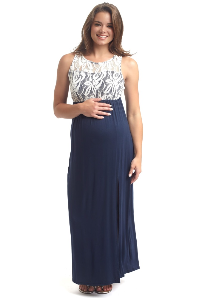 42d45a0d7b8 Navy Blue Lace Top Maternity Maxi Dress