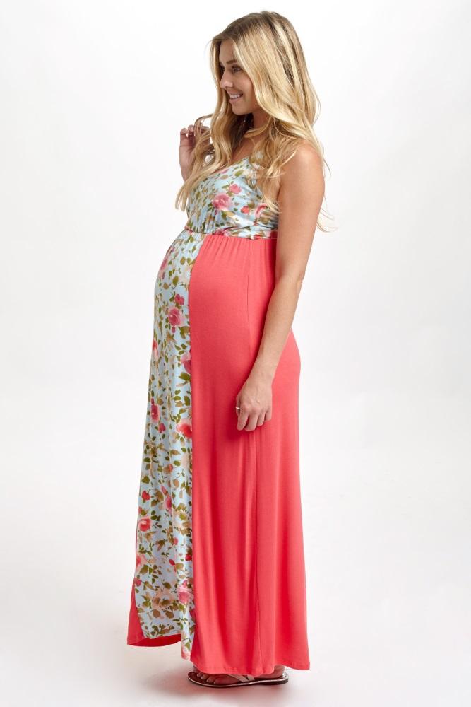 e8997620519cd Coral Floral Colorblock Maternity Maxi Dress