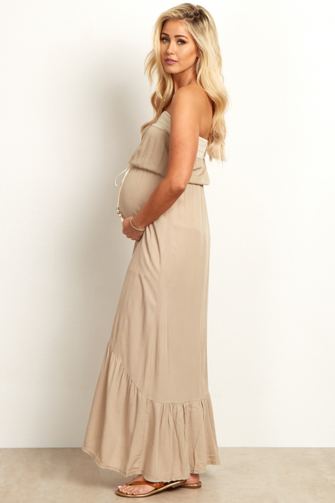 f86539c0d983c Taupe Tie Front Strapless Linen Maternity Maxi Dress