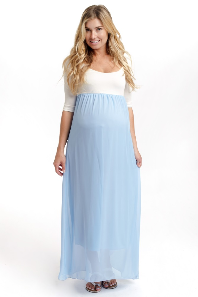 0c7b373e6192 Sky Blue Chiffon Colorblock Maternity Maxi Dress
