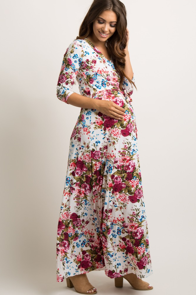 9158b1a3e7 Ivory Floral Draped 3 4 Sleeve Maternity Maxi Dress