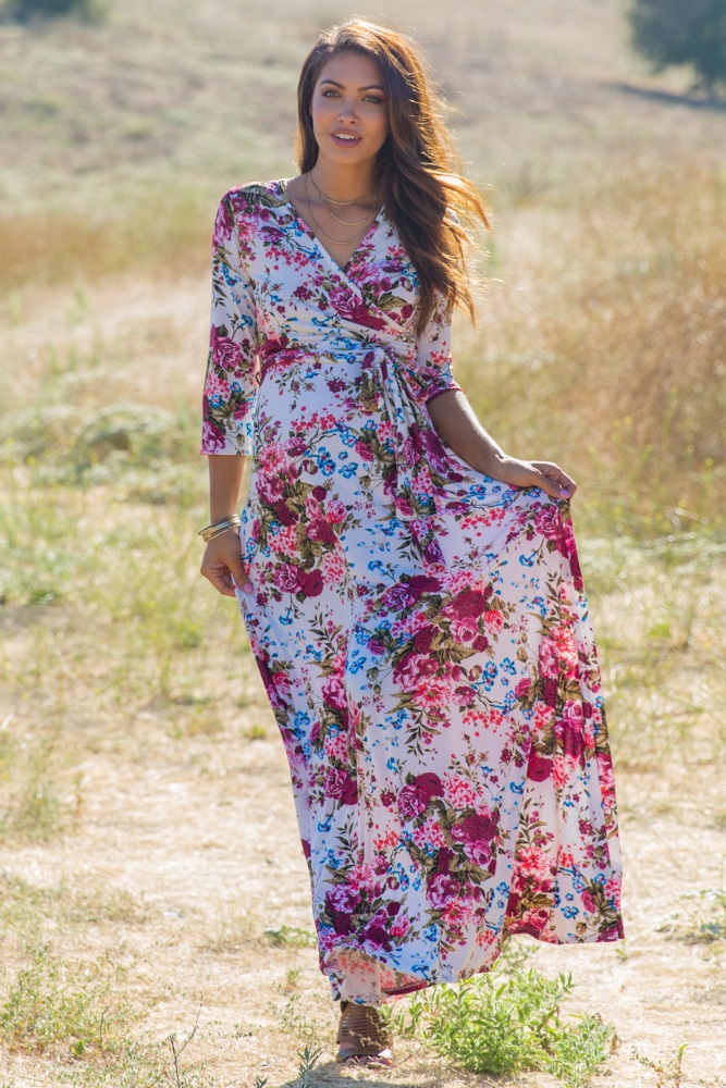 d23dced8940 Petite Ivory Floral Draped 3 4 Sleeve Maternity Maxi Dress