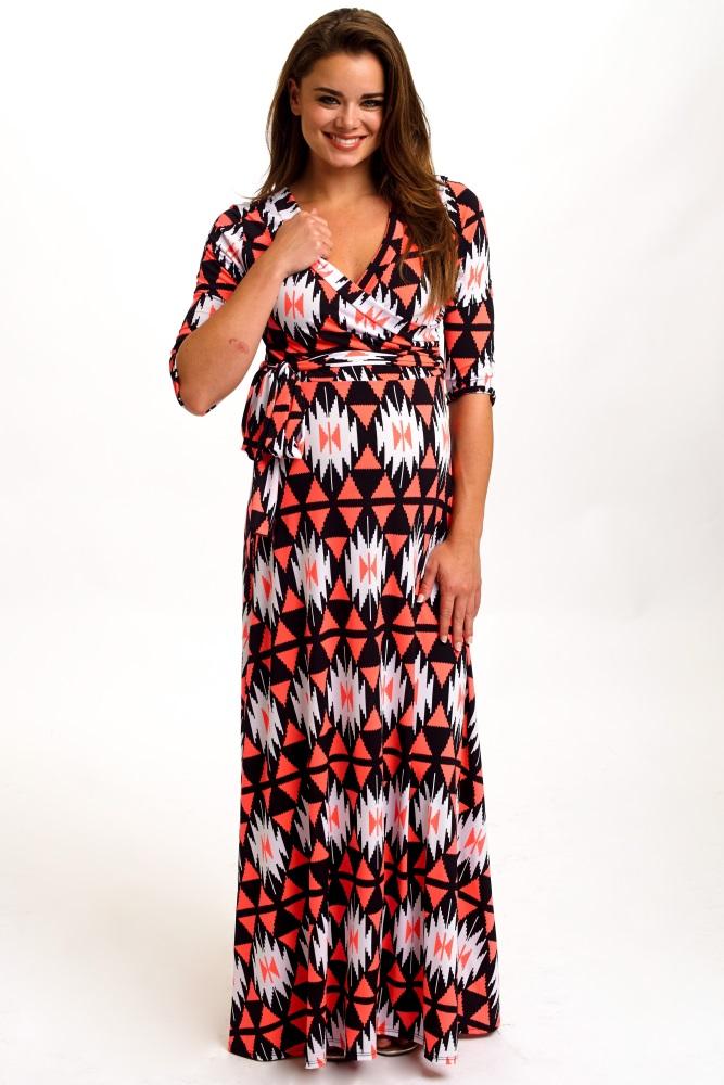 f76e079ecf65a Neon Coral Tribal Print Draped Maternity Maxi Dress
