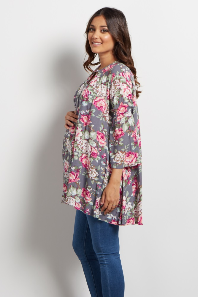 278a613ed516 Grey Floral Bell Sleeve Maternity Tunic/Dress