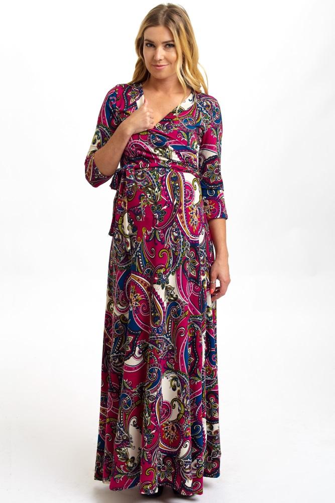 873c55d3414b3 Magenta Bohemian Draped 3/4 Sleeve Maternity Maxi Dress