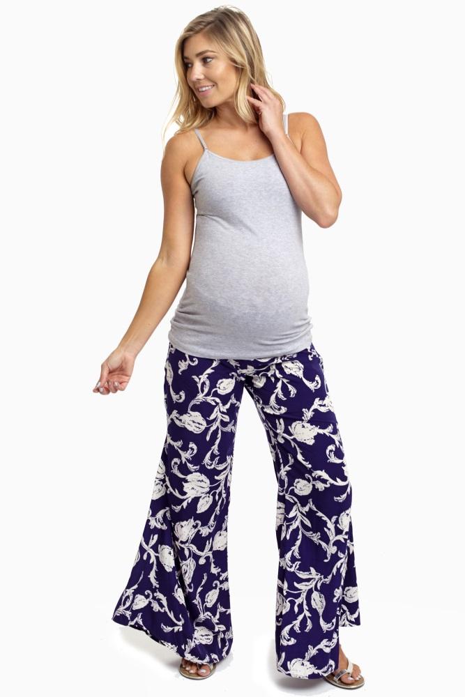 a3038ddd1f432 Navy Blue Floral Print Maternity Pants