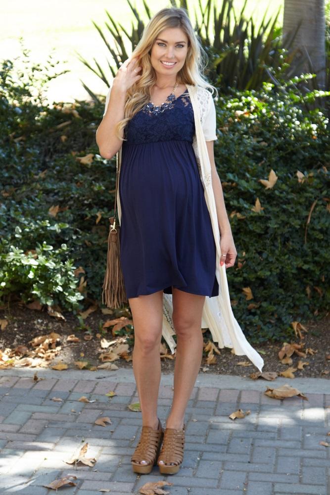 85392fecdaa Navy Blue Lace Top Maternity Dress