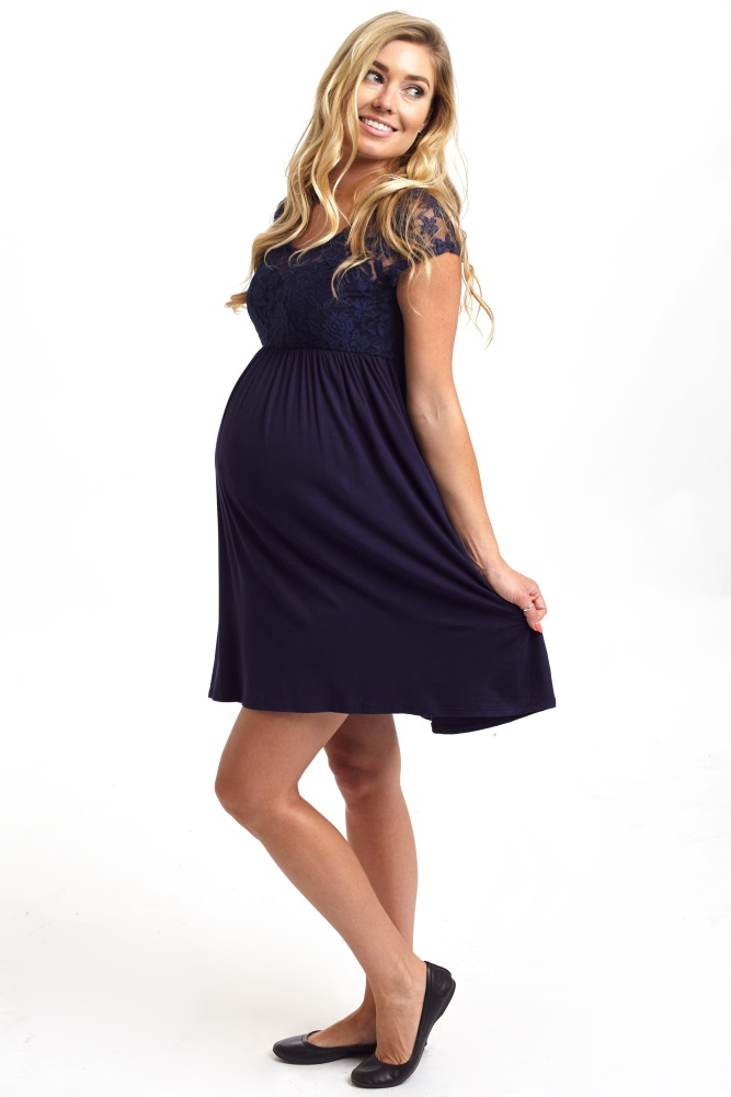 e3f2a8c9b657f Navy Blue Lace Top Maternity Dress