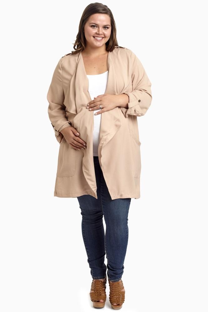 Beige 3/4 Sleeve Plus Size Maternity Trench Coat