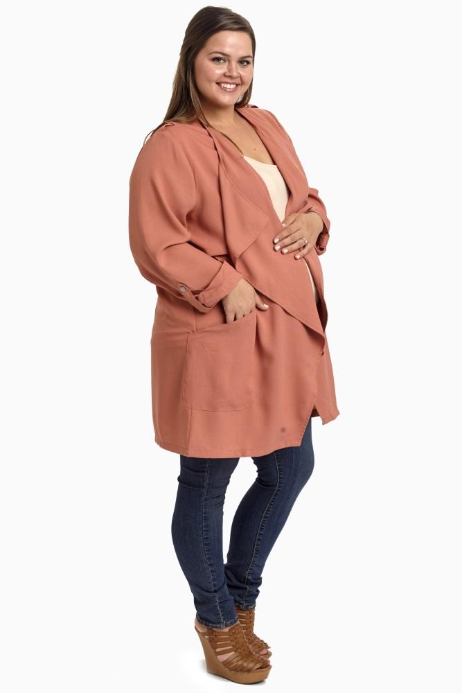 Salmon 3/4 Sleeve Plus Size Maternity Trench Coat