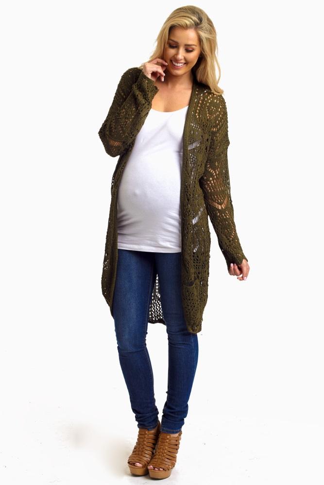 e42f600ac79 Olive Green Open Knit Maternity Long Cardigan