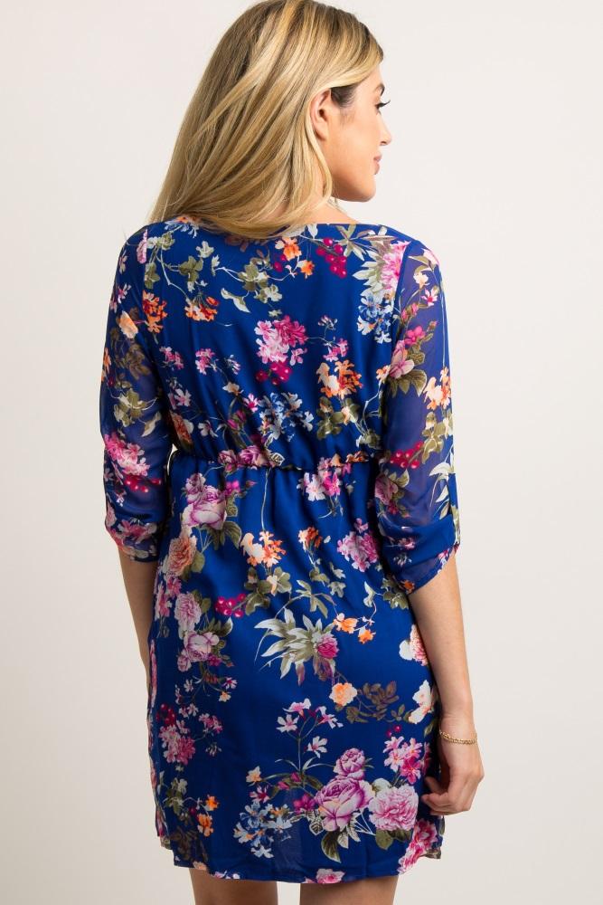 0daa245eb5547 Royal Blue Floral 3/4 Sleeve Chiffon Maternity Dress